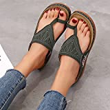 XKDWAN Sandalias Mujer Cuña Verano Chanclas con Cuña Ortopedicas Zapatos de Playa Flip Flop Bordado Zapatillas de Playa Interior y Exterior Talla 35-43,Verde,39