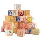HNaGRDMMP Baby-Spielzeug-Blöcke, Holz Alphabet Blocks Deluxe Holz ABC-Blöcke.Extra Large Gravur Baby-Alphabet, Zählen & Building Block Set