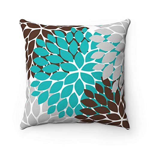 Toll2452 - Funda de almohada para cojín (color turquesa y marrón, diseño de flores, color turquesa y marrón