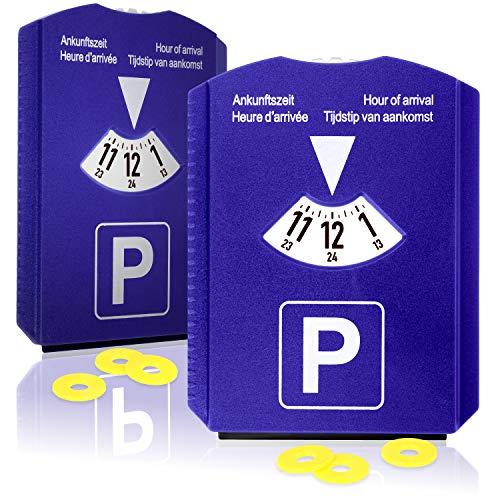 COM-FOUR® 2x parkeerschijf met ijskrabber, rubberen lip en winkelwagentje-chip - parkeermeter van kunststof (02 stuks - parkeerschijf met chip)