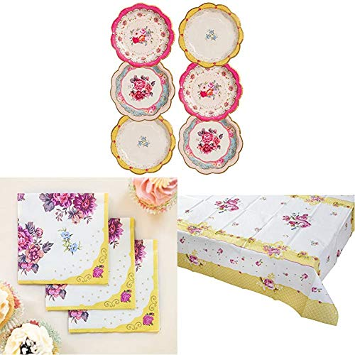 Talking Tables Truly Scrumptious Afternoon Tea Party Pretty Paper Plates, Floral Napkins , Floral Paper Tablecover