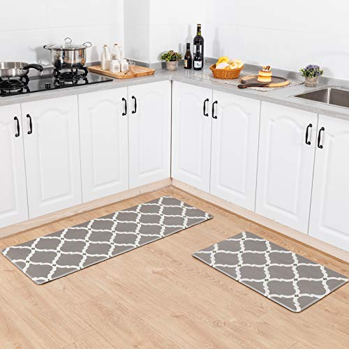 Asrug Anti Fatigue Comfort Kitchen Standing Desk Mat Decorative Ergonomic Floor Pad Kitchen Rug Waterproof Stain Resistance Non Slip Kitchen Set, 17.3''x27.6''+17.3''x47.2'', Moroccan Grey
