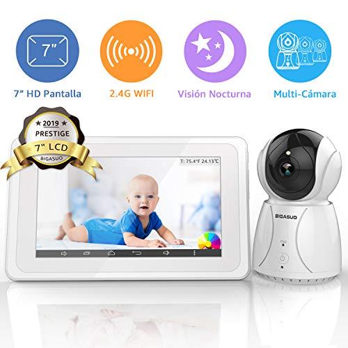"""BIGASUO Vigilabebés Inalámbrico Baby Monitor LCD 7\"""" Pantalla con Cámara Visión Nocturna, 2.4GHz, Comunicación Bidireccional, Canciones de Cuna"""