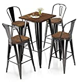 VIPEK Metal Bar Table Chair Set 41.3' H Square Dining Table & 4Pcs 30' High Back Barstool Dining Chairs w Solid Wood Top Bistro Pub Patio Cafe Restaurant Home Kitchen, Gloss Black