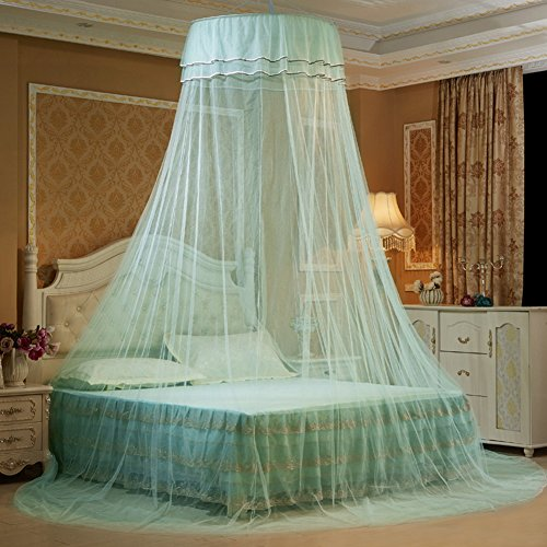 Per Princess Dome Fantasy Netting Curtains with Butterfly Decoration Hanging Round Lace Canopy Play Tent Mosquito Net for Double Bed(Light Green)