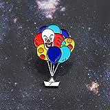 ピエロバルーンブローチレインボーカラーバルーンナイトメアピエロエナメルピンバックパックレザーバッジホラーコメディー映画ファンギフト