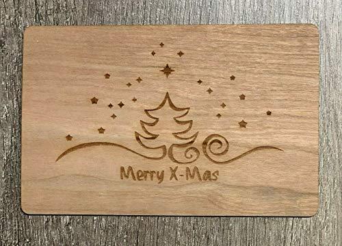 Grußkarte aus Holz Geschenk Karte Weihnachtskarte Merry X-Mas Baum & Sterne Geschenkkarte Geschenk Holzkarte