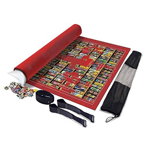 XYMLGS Flexible Rollen Mat Puzzle Isomatte Faltbare Jigroll Puzzle Lagerung Filzmatte 1000 1500 2000 Stück, Groß 120cm * 80cm Decke Grau/Blau/Grün/Rot, beweglicher aufblasbarer Kern Geschenk