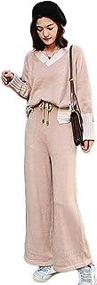 [ユリカー] セット ニット セーター+パンツ 二点セット レディース プルオーバー Vネック ワイドパンツ シンプル カジュアル 秋 着痩せ おしゃれ