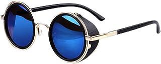 69407a8895 Worsworthy Gafas de Sol de Espejo Gafas de Sol Redondas Vintage de Metal  Steampunk Lentes de