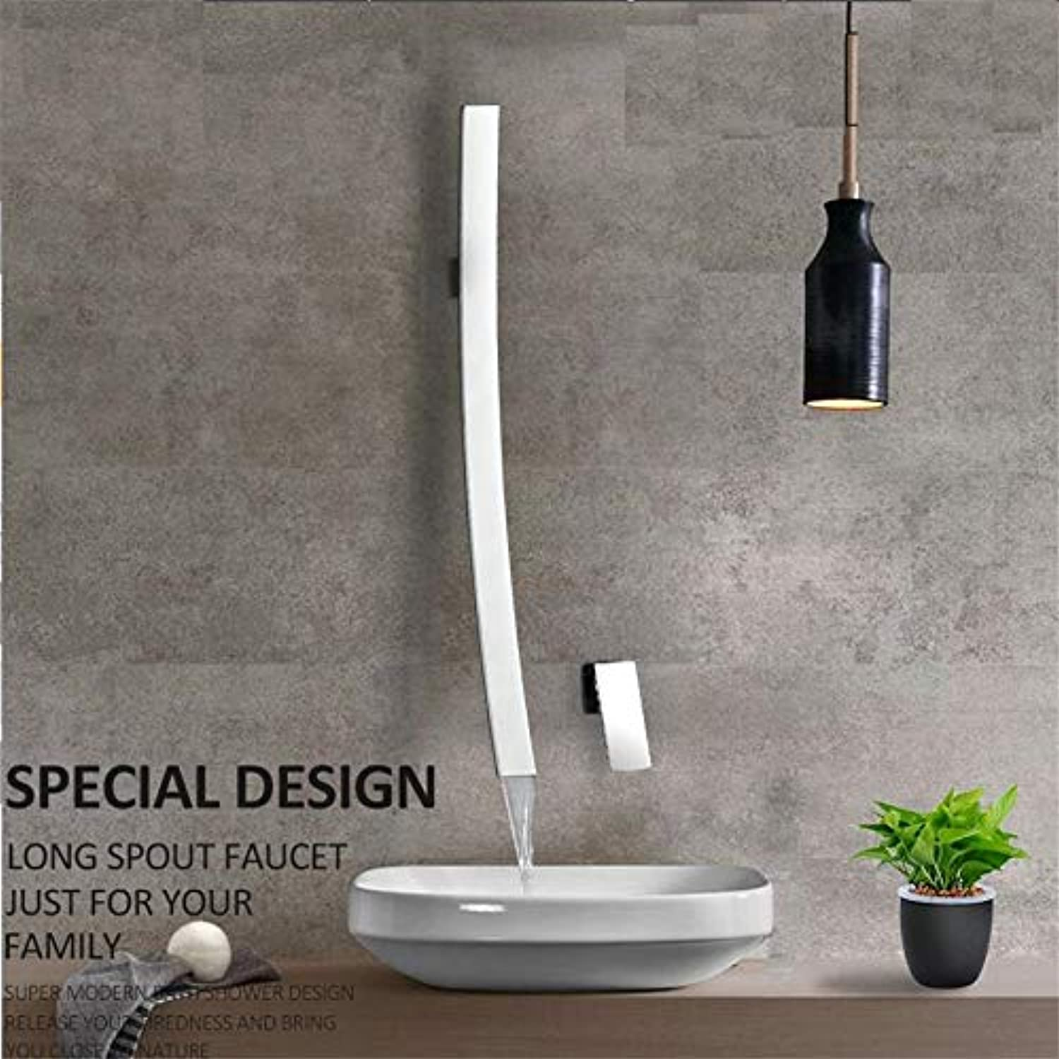 Faucet Basin Faucetmodern Chrome 27.5 Inch Waterfall Spout Wall Mount Basin Faucet Single Handle Mixer Tap Concealed Bathroom Sink