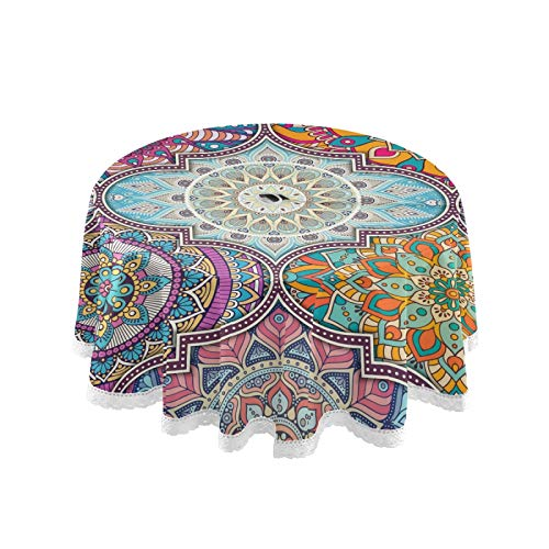Xigua Mandala Round Tablecloth with Umbrella Hole and Zipper Outdoor Tablecloth Spill-Proof Polyester Table Cover for Kitchen Patio Garden Party Picnic Decoration