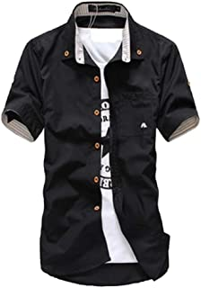 Qiyun Autumn Shirt Short Sleeves Shirt Single-Breasted Top with Pocket Leisure Cardigan for Man