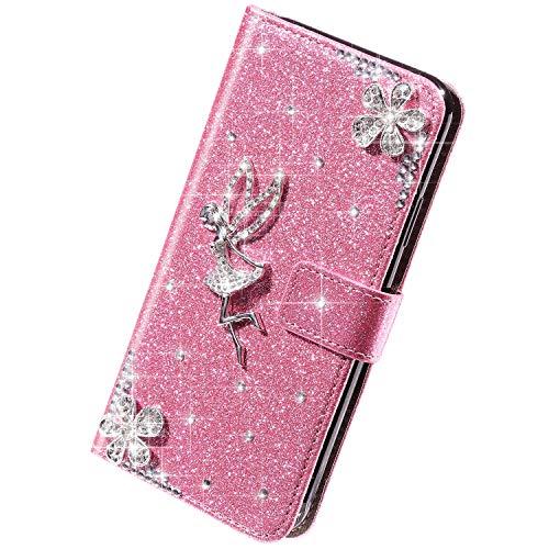Herbests Kompatibel mit iPhone 11 Pro Max Hülle Bling Glitzer Strass Diamant Blumen Handyhülle Leder Hülle Wallet Klappbar Schutzhülle Flip Case Tasche mit Magnet Kartenfach,Rosa