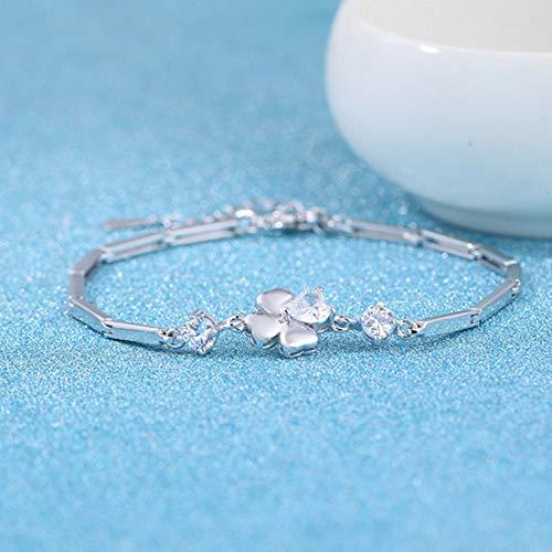 WOVP Pulsera Lucky Clover Bracelet Silver Plated Zircon Joyas De Mano Decoraciones De Moda para Mujeres Accesorios