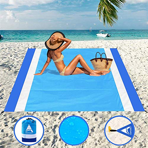 """AISPARKY Beach Blanket Sandproof Waterproof for 4-7 Persons Quick Drying Beach Mat Made by Premium Nylon with Corner Pockets Durable Portable Picnic Blankets for Outdoor Travel (78"""" X 81"""")"""