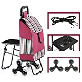 AJDGL Folding Shopping Cart with Seat- 6 Wheels Portable Stair Climber Utility Trolley Dolly for Condo Apartment,A2