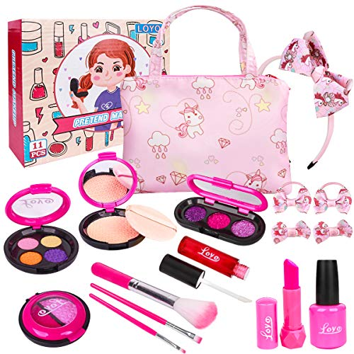 LOYO Girls Pretend Play Makeup Sets Fake Make Up Kits with Cosmetic Bag for Little Girls Birthday Christmas, Toy Makeup Set for Toddler Girls Age 3, 4, 5 (Not Real Makeup)