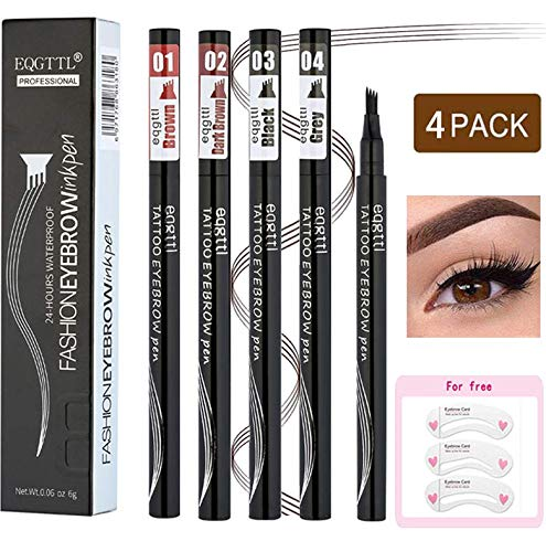Eyebrow Tattoo Pen- Waterproof Microblading Eyebrow Pencil with Micro-Fork Tip Applicator Creates Daily Natural Brows Makeup Effortlessly 4 Different Colors, 5PCS