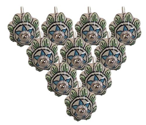 Pack of 10 Hand Painted Ceramic Door Knobs Cupboard Wardrobe Cabinet Drawer Pulls Door Knobs. by PARIJAT HANDICRAFT