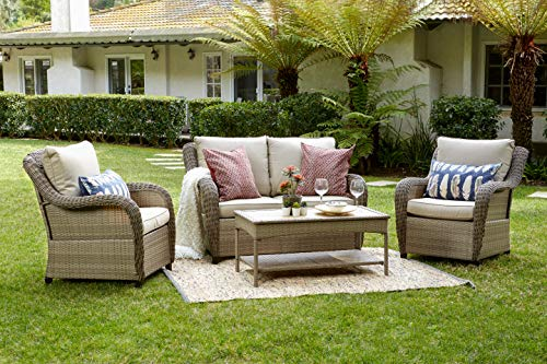 Quality Outdoor Living 65-517298 Houston All-Weather 4 Piece Deep Seating Set, Tan Wicker + Tan Cushions