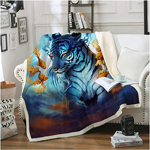 Dream by Blanket For Bed Sofa Tiger Throw Blanket Goldfish In The Sky Animal Bedding 150 * 200Cm