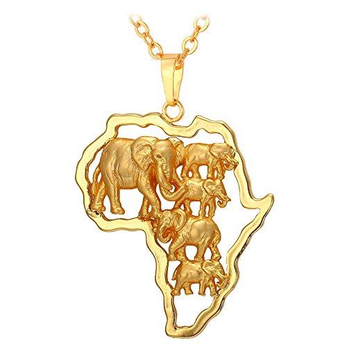 U7 18k vergoldet Collier Karte von Afrika mit Elefanten Anhänger Halskette Afrikanische Landkarte mit 50+5cm Rolokette Modeschmuck Geschenk für Weihnachten Geburtstag