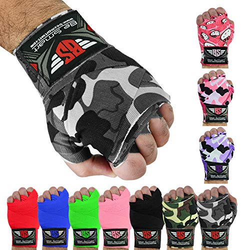BeSmart - Fasce per le mani, per guantoni da boxe/MMA/Muay Thai, Uomo donna Bambino, Gray Camo, 4.5 Meter
