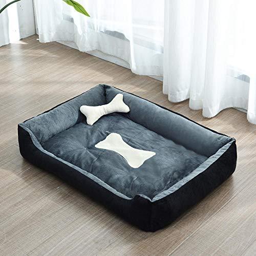 Cama para Perros de Felpa Suave y cálida Cama para Perros Cama para Dormir mullida sofá para Mascotas Perros pequeños y medianos de Varios tamaños -Gris Oscuro_E-90 * 70cm