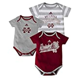 adidas Mississippi State Bulldogs NCAA Infant 3 Pack Bodysuit Creeper Set -