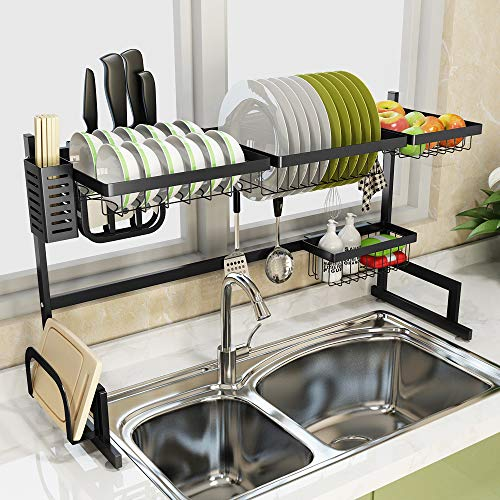 Jun yuan Dish Drying Rack Over Sink Adjustable, Plate Holder Drainer Shelf for Kitchen Storage Counter Organizer Utensils Holder Stainless Steel Anti Rust Save Space(Sink size ≤ 41 inches,)