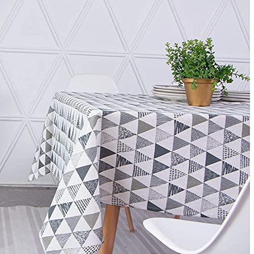 XHNXHN Triángulo Simple Mantel de algodón y Lino Hogar Sala de Estar Mesa de Centro Mantel de Lunares Mantel de Vinilo Rosa Manteles de Bautizo Mantel de Fiesta Algodón Verde Gris 140 * 300
