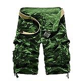 lxylllzs Bermuda Short Casual Couleur Unie,Short décontracté pour Hommes d'été, Taille Plus, Short Cinq Points-Vert Gazon_38, Coton Casual Multi Poche,
