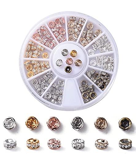Sadingo Juego de 120 perlas para joyas, 4 mm, 6 colores, perlas de metal, perlas de estrás, bisutería DIY, perlas brillantes redondas
