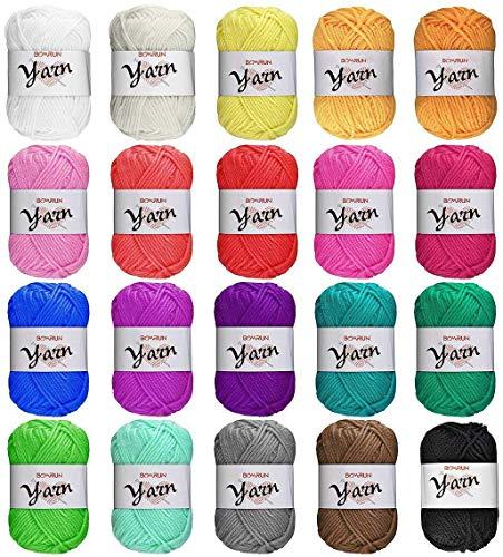 Juego de lana, lana de tejer, lana para crochet, juego de lana de ganchillo hecho a mano, hilo acrílico de colores variados para ganchillo y artesanías (20 x 25 g)