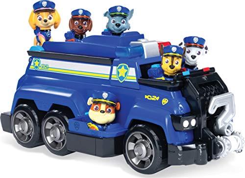 Paw Patrol, Mega Veicolo Della Polizia di Chase con Marshall, Rubble, Skye, Zuma, Rocky, 6 Cuccioli inclusi, dai 3 Anni