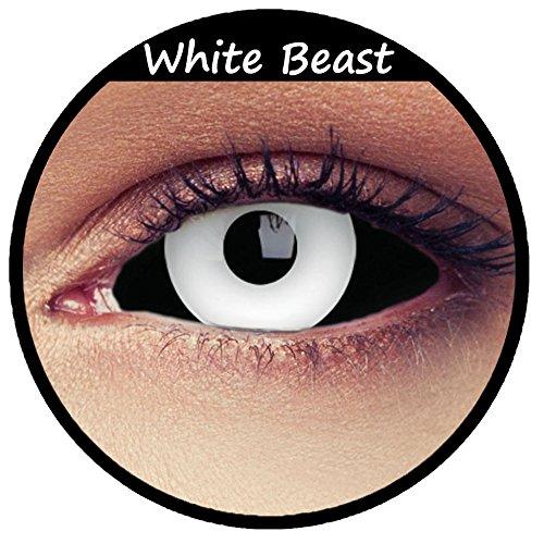 Weiß schwarze Sclera Zombie Kontaktlinsen 22mm Linsen Halloween Kostüm Cosplay Larp