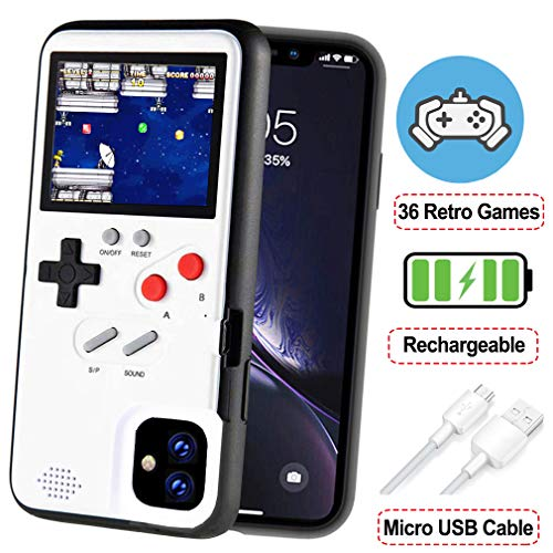 POKPOW Handheld Game Console Phone Case for iPhone 11 Case with Built in 36 Retro Games Compatible with iPhone 11 Anti-Scratch Shock Absorption Cover (White)