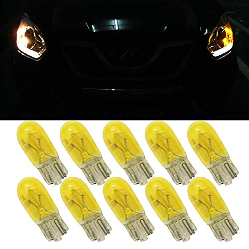 Yellow T10 W5W Halogen bulb - T10 Halogen Car Yellow Lamps 168 194 w5w Turn Side License Plate Light Car Parking Dome Reading Interior Lamp (10PCS)