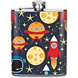 Fusée de vaisseau spatial et étoile en acier inoxydable Flagon, fiole à liqueur portable extérieure en acier inoxydable Flagon
