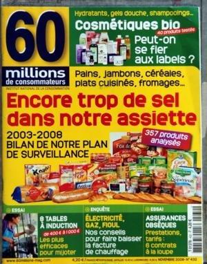 60 MILLIONS DE CONSOMMATEURS [No 432] du 01/11/2008 - ENCORE TROP DE SEL DANS NOTRE ASSIETTE COSMETIQUES BIO - PEUT-ON SE FIER AUX LABELS 8 TABLES A INDUCTION...