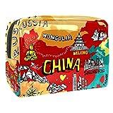 Bolsa de Maquillaje para niños Mapa de China Accesorio de Viaje Neceser Pequeño Bolsas de Aseo Impermeable Cosmético Organizadores de Viaje 18.5x7.5x13cm