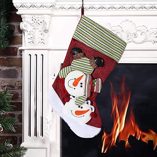 Waroomss Juego de calcetines de Navidad grandes, calcetines y bolsa regalo de Navidad, modelo muñeco de nieve, Papá Noel y renos, gorro de Papá Noel y riñonera