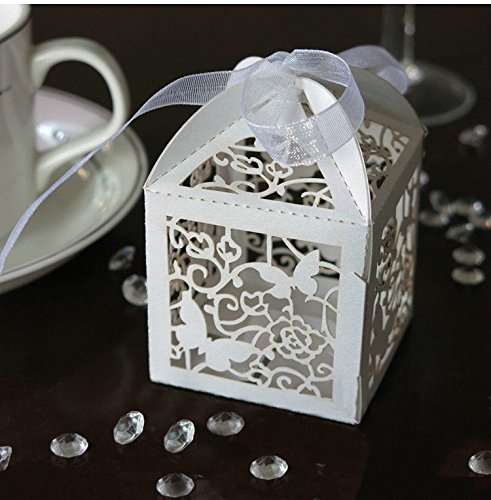 Zorpia New 50 Pack White Love Butterfly Laser Cut Favor Candy Box Bomboniere with Ribbons Bridal Shower Wedding Party Favors ZRA0168906