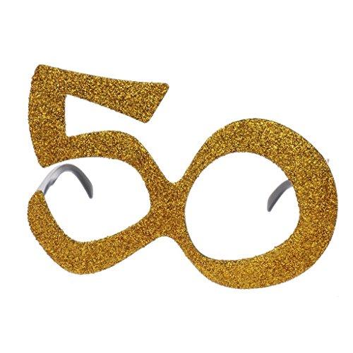 Red Star Novedad Cumpleaños Gafas Brillantes Fiesta 40TH 50TH 60TH Oro Plata Disfraz - Oro - 50
