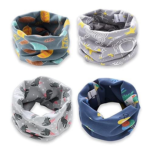 YMIFEEY 4 sciarpe per bambini e bambine, scaldacollo in cotone, con anello, scaldacollo e scaldacollo antivento, multifunzione, per inverno, primavera, autunno, Tipo A, Taglia unica