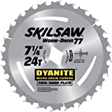 SKIL 76924 Dyanite Worm Drive 7-1/4-Inch 24 Tooth Framing Saw Blade with 13/16-Inch Diamond Knockout