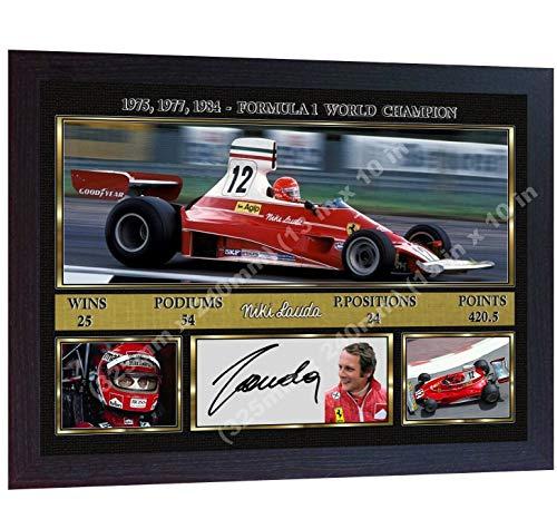 SGH SERVICES Gerahmter Formel 1 Racing Legend Niki Lauda F1 Ikone Autogramm Formel 1 Autogramm Foto Druck gerahmt MDF Rahmen Fotodruck