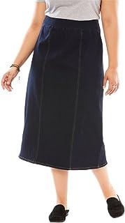 9f8c9cf0eae9 Woman Within Women s Plus Size Smooth Waist A-Line Denim Skirt