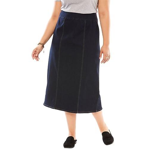 e4a6b7123f34 Woman Within Plus Size Smooth Waist A-Line Denim Skirt